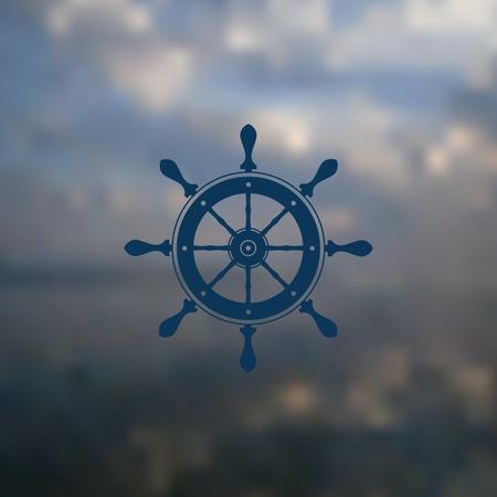 sophisticate: marine steering wheel, the steering wheel on blurred background Illustration