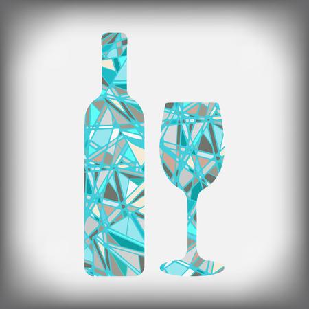 ガラスとワインのボトル。ボトルとアルコール、抽象模様のガラス  イラスト・ベクター素材