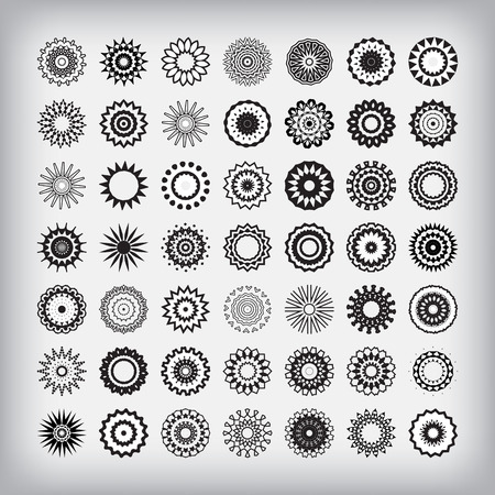 workpiece: Round Ornament Pattern. Snowflakes. The flowers of the workpiece. Illustration