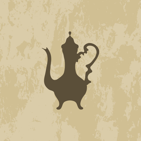 coffee pot: Arabic coffee pot on grunge background. Isolated, ancient East. vector illustration. Illustration