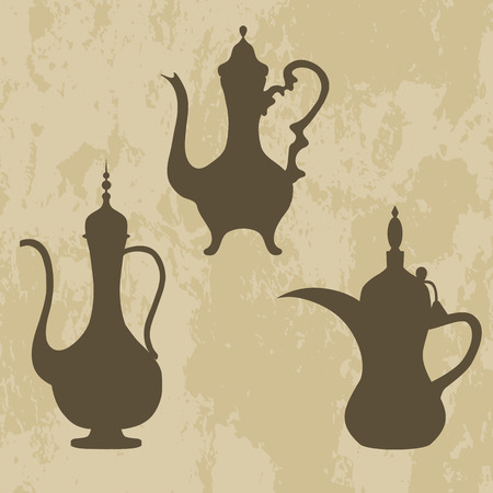 arabic coffee: a jug of old Arabic, Arabic coffee pots set on grunge background. Isolated icons. Vector illustration.
