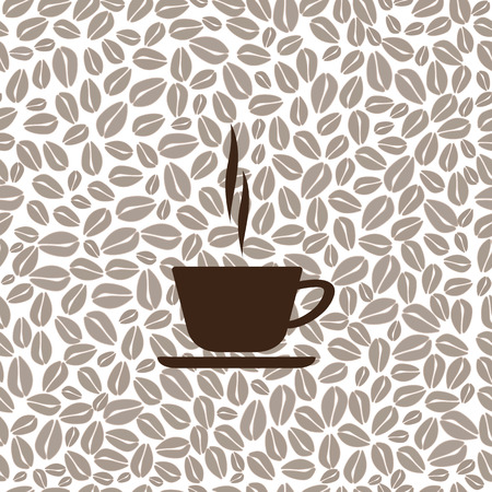 tasteful: Mug with coffee. Mug with coffee seamless background of coffee beans. Vector illustration