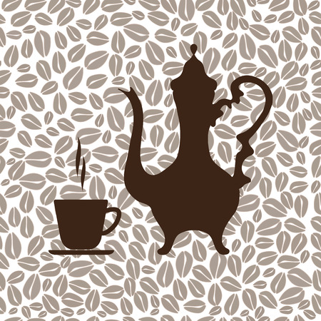 arabic coffee: Arabic coffee pot and a Cup of coffee. Seamless background of coffee beans. Vector illustration