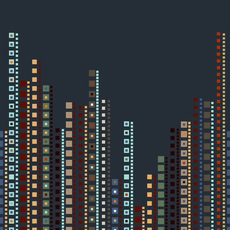 city background: background with squares background with squares, abstract, apartment buildings. Vector illustration. Night city