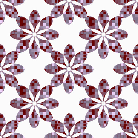 randomly: geometric flowers seamless abstract, inside a figure with squares randomly colored. Vector illustration Illustration