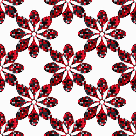 sophisticate: geometric flowers seamless abstract, inside a figure with squares randomly colored. Vector illustration Illustration