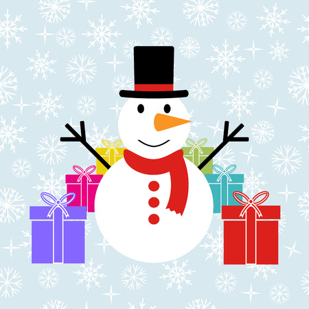 coldly: snowman with gift. Christmas greetings. The background snowflakes. Isolated icons Illustration