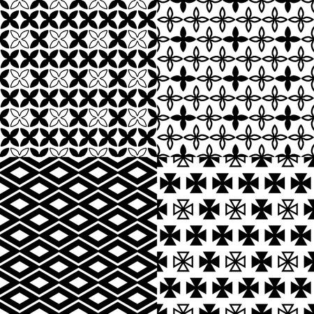 Simple monochrome patterns. Black-and-white. Set of geometric seamless