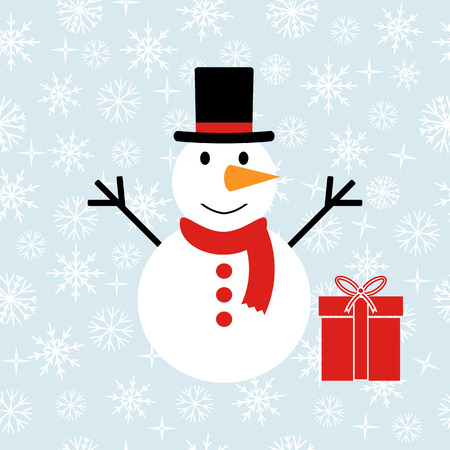 coldly: A seamless background of snowflakes. Snowman with gift. Vector illustration Illustration