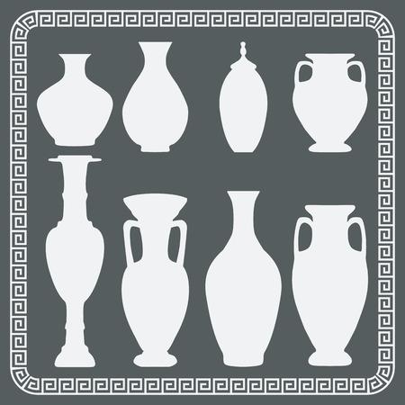 floreros y jarras de época. iconos aislados - ilustración vectorial. Vectores