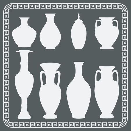 decorative urn: Vintage vases and jugs. Isolated icons - vector illustration.