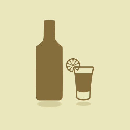 shot glass: Bottle of tequila with shot glass and lemon slice. Isolated icons. Vector illustration. EPS 10