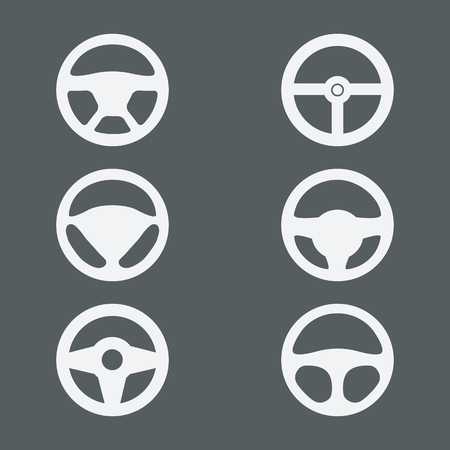 vector wheel: A set of wheels for cars, vector icon isolated. Steering wheel isolated Illustration