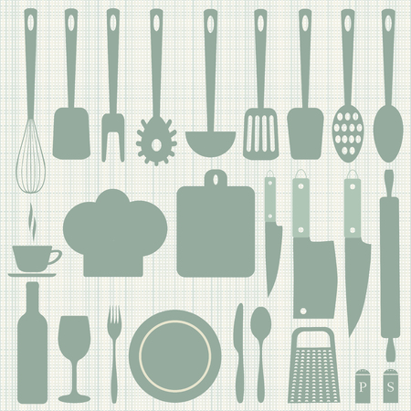 knife fork spoon: Kitchenware icons set. Plate knife  fork  spoon. Bottle with a glass. Scoop, Board, grater, salt and pepper. A chefs hat. Vector illustration Illustration