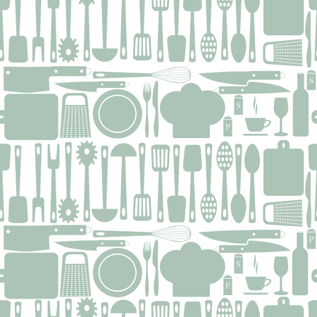 grater: Kitchen accessories seamless pattern. Plate  fork  knife, chef cap, spoon  Board  grater  rolling pin. Vector illustration. EPS 10