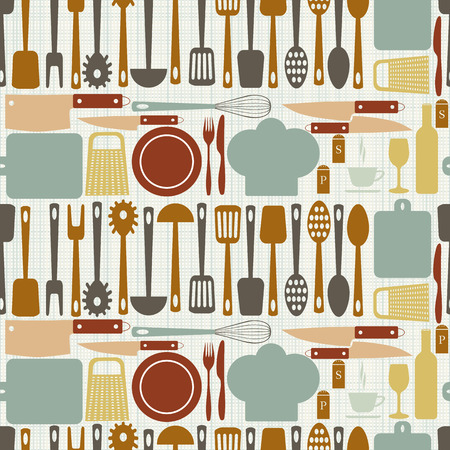 home cooking: Kitchen accessories seamless pattern. Plate  fork  knife, chef cap, spoon  Board  grater  rolling pin. Vector illustration. EPS 10