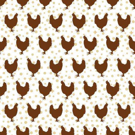 gallo: sin patr�n, con gallos-ilustraci�n vectorial. Fondo con bolas redondas