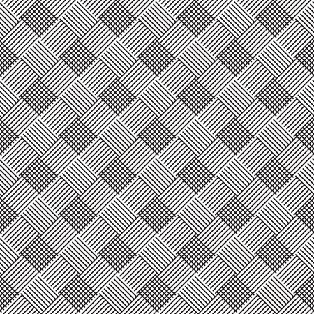 splice: seamless abstract ornament  of squares the intertwining of lines - vector illustration of monochrome