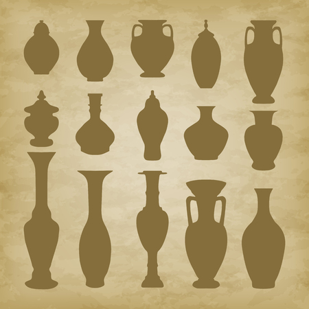 archaeologists: Arabic vase on grunge background. Vector illustration. EPS 10 Illustration