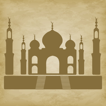 agra: Mosque Taj Mahal isolated on grunge background - vector illustration. EPS 10 Illustration