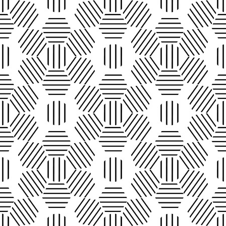 black lines: Seamless monochrome geometric pattern of black lines in a hexagon -vector illustration. Ornament flower