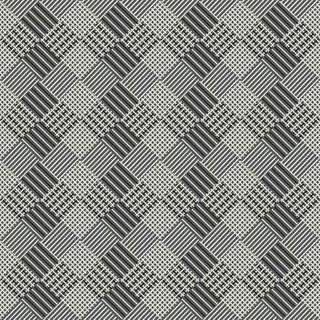 splice: seamless abstract ornament of squares the intertwining of lines - illustration of monochrome