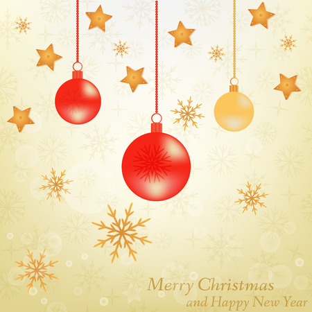 spangle: Christmas background with snowflakes with balls with stars on the gold fone- vector illustration. EPS 10