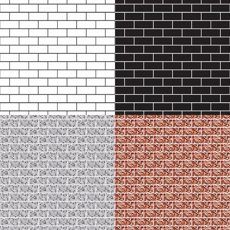 brick building: Brickwork seamless pattern set. Monochrome. Black-and-white. Brown and white brick building. Vector illustration