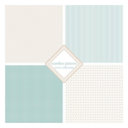 simple background: Seamless texture pack simple classic version. Points, lines, squares. Vector illustration. Simple design Illustration
