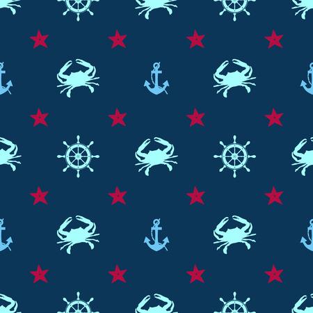 cangrejo: Modelo inconsútil del mar la vida marina - ilustración vectorial. Cangrejo, estrellas de mar, ancla y el timón Vectores