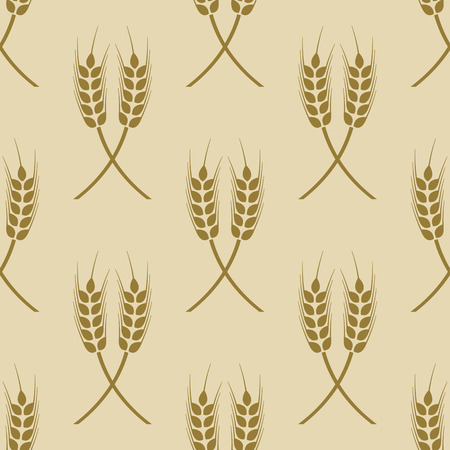 winter wheat: seamless pattern with ears of wheat
