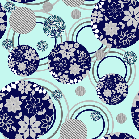 patron de circulos: The ornament of abstract circle seamless pattern -vector illustration. Inside the circles pattern of geometric flowers