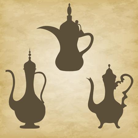 east espresso: jug old Arab. Vector illustration on grunge background