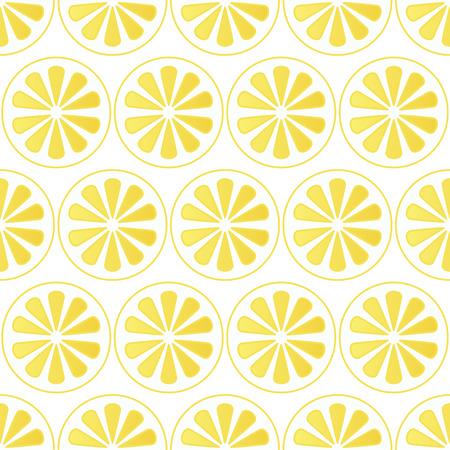 zest: seamless pattern of lemon slices - vector illustration. Bright yellow background with lemons