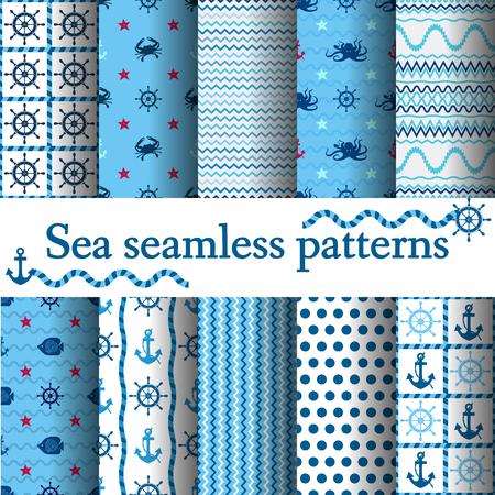 海洋のシームレスなセット ベクトル図、航海をテーマ、水中、カニ タコ アンカー ホイール  イラスト・ベクター素材