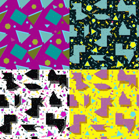 memphis: set seamless background with geometric shapes, the design of the 80s - vector illustration. In retro memphis group style