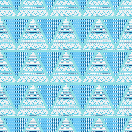 lineas onduladas: Triangles blue abstract geometric seamless pattern-vector illustration. Wavy lines in the triangle.