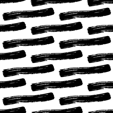 careless: Vector seamless pattern with careless strokes of horizontal lines. Abstract background made using of brush smears. Black and white hand drawn texture.