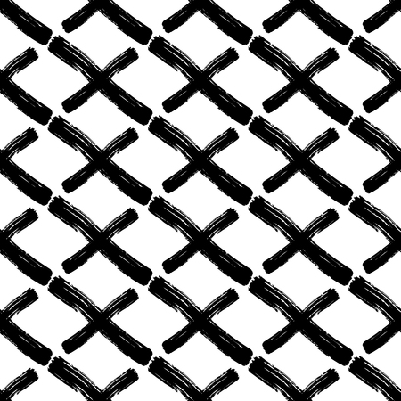 Vector seamless pattern with careless strokes of lines on a diagonal, crosses. Abstract background made using of brush smears. Black and white hand drawn texture.