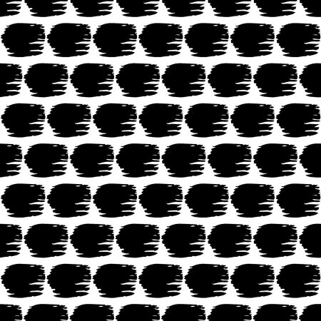 careless: Vector seamless pattern with careless strokes in the form of a circle. Abstract background made using of brush smears. Black and white hand drawn texture.