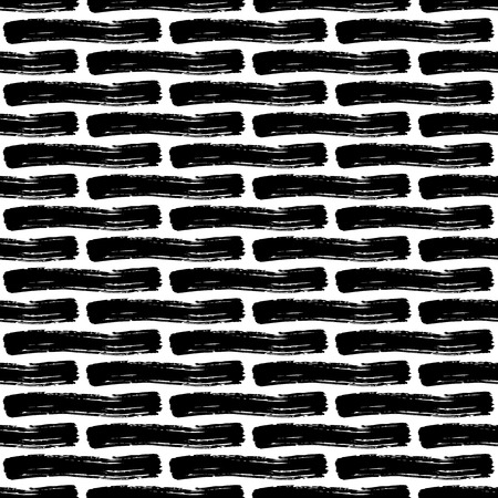 careless: Vector seamless pattern with careless strokes of horizontal lines. Abstract background made using of brush smears. Black and white hand drawn texture. Brickwork