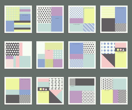 gently blue: Simple geometric patterns, templates and universal greeting. Universal Collection of cards designed in trendy colors of 2016.