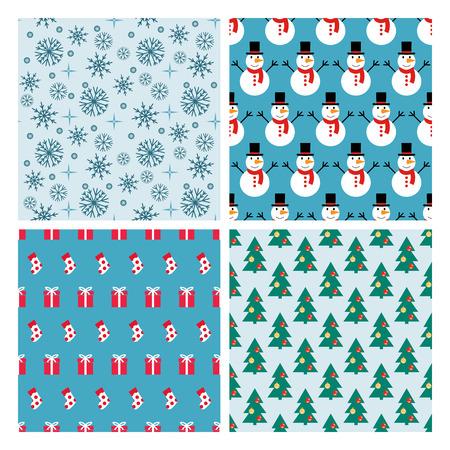 decorated christmas tree: Set of seamless simple patterns symmetrical. Snowmen, presents, decorated Christmas tree background with snowflakes. Simple geometric patterns.