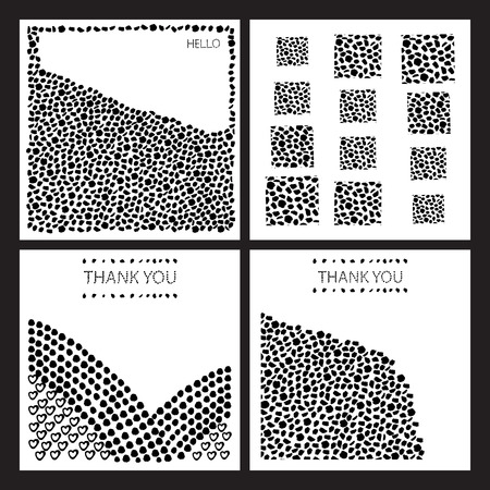 careless: The set of vectors of greeting cards. Black-and-white. Made in the style of careless strokes, as points, arcs, heart. Illustration
