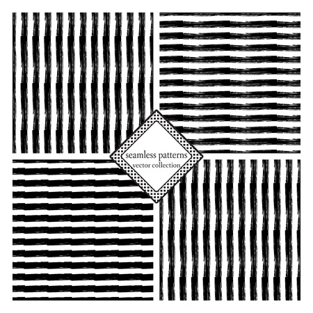 careless: Set of vector seamless pattern with careless strokes lines. Abstract background made using of brush smears. Black and white hand drawn texture. Lines vertical and horizontal.