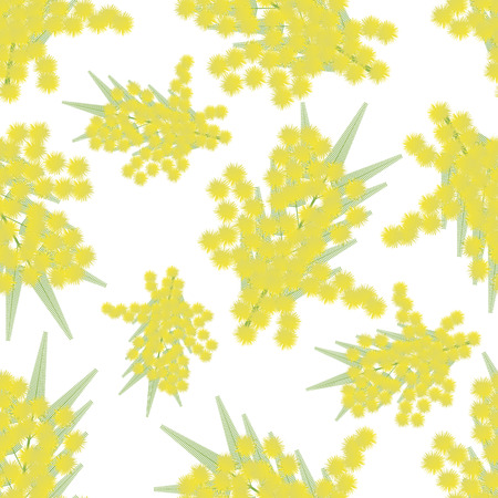 twigs: Mimosa twigs seamless pattern - illustration. Isolated sprig of Mimosa. Spring the background.