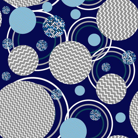 wavy lines: The ornament of abstract circle seamless pattern -vector illustration. abstract circles wavy lines seamless pattern-vector illustration. Dots and circles the ring ornament.