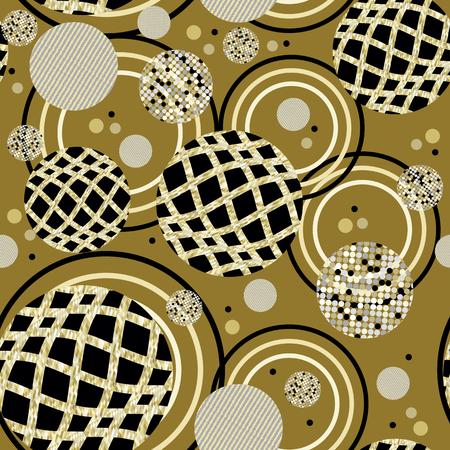 interweaving: Circle ornament seamless abstract background-vector illustration. abstract circles interweaving gold threads seamless pattern-vector illustration. The dots and circles on the ring ornament. Illustration