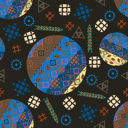 heathen: The tribal pattern seamless-vector illustration. Circles seamless pattern tribal. Boom triangles rhombs.