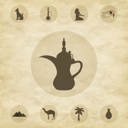 antiquities: Set of icons of Egypt-vector illustration. Nine icons on grunge background. EPS 10.